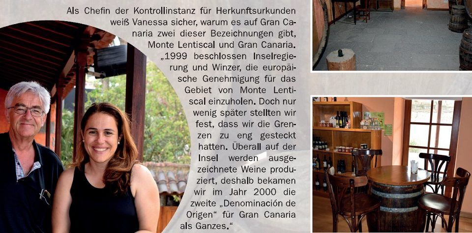 El entrevistador con Vanessa Santana hablando sobre vinos de la isla