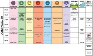 Programación de talleres y actividades del domingo 30