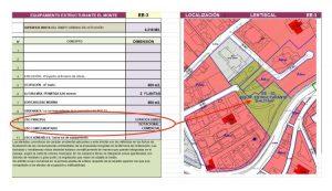 Ficha de la parcela (en verde) donde irá la ampliación del consultorio de salud y la plaza pública con aparcamiento y usos complementarios (cultural, social, administrativo, aparcamientos y comercial).