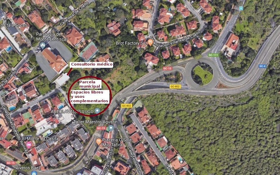 Vista de Google Maps de la parcela municipal para espacio libre