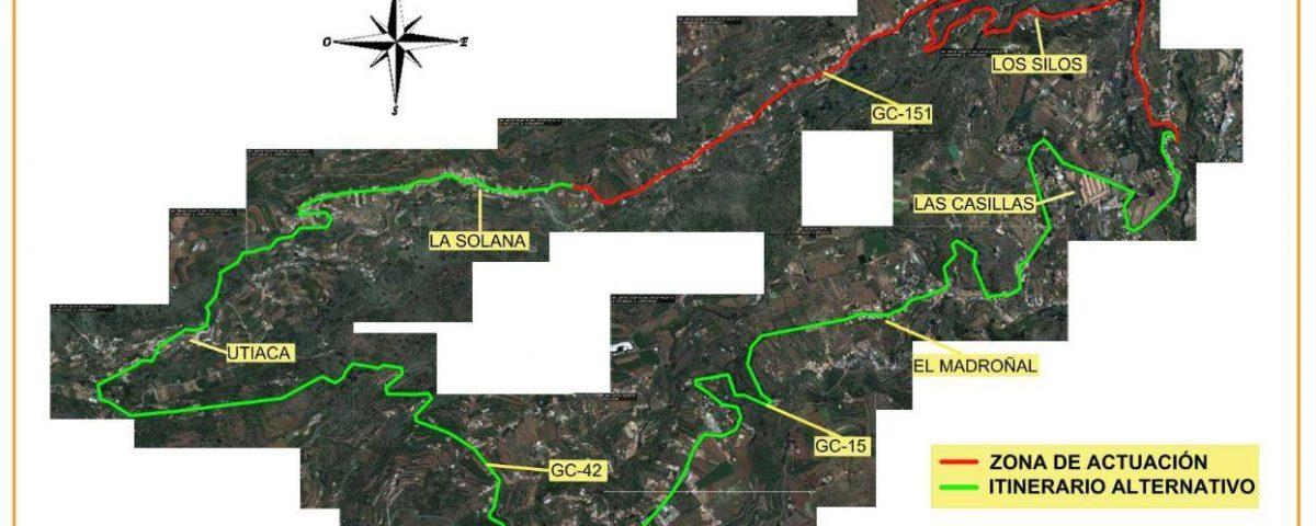 Imagen de la zona que se asfaltará y de la vía alternativa planteada por el Cabildo